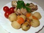 Картошка тушеная с курицей в рукаве