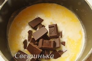 растопить шоколад в сливках