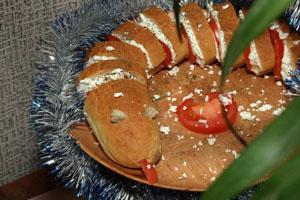 Бутерброды новогодние из багета