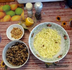 Подготовленные продукты для постного салата