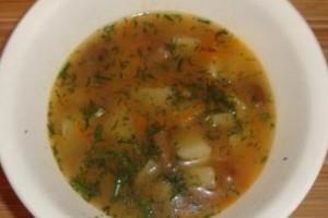постный грибной суп с фаослью