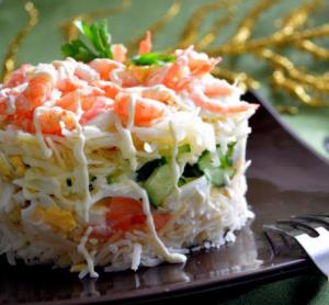 креветками Простой салат с